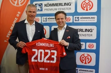 Dr. Peter Mrosik, owner and CEO of profine, and Dr. Jan Lehmann, Commercial Director of 1. FSV Mainz 05, have signed the new contract on 18th March 2019.