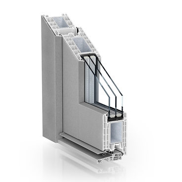 KÖMMERLING 76 residential door AluClip inward opening brushed stainless steel