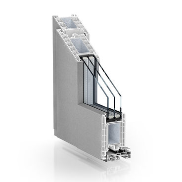KÖMMERLING 76 residential door AluClip outward opening brushed stainless steel