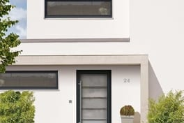 Single sash residential door with prefabricated panelling
