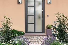 Single sash residential door in anthracite grey