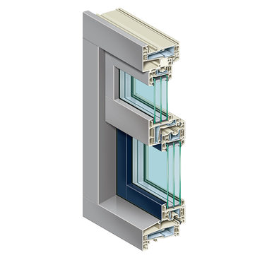 KÖMMERLING K-VISION city window proCoverTec in signal grey and pigeon blue