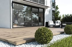 Terrace with anthracite grey lift/sliding door in the lux variant