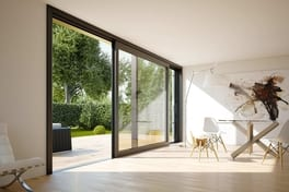 Living space with anthracite grey lift/sliding door in the lux variant